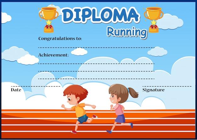 Certificaat van het diploma van de lopende loopt