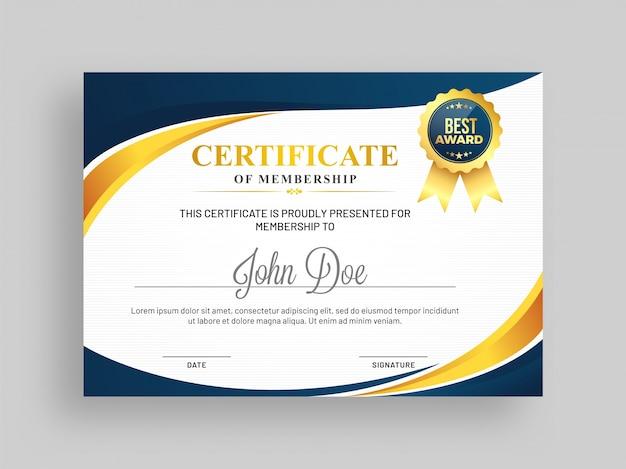 Certificaat van lidmaatschap sjabloon met blauwe en gouden ontwerp en badge.