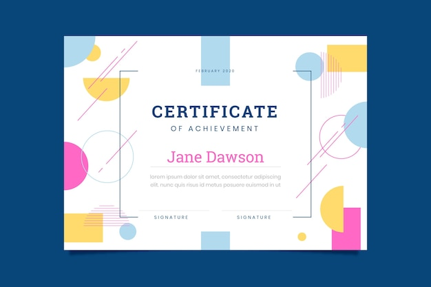 Certificaat van prestatie abstracte sjabloon