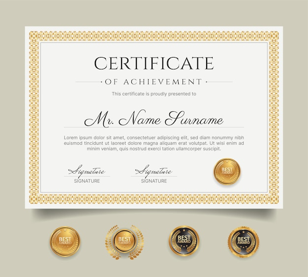 Certificaat van prestatie met gouden randsjabloon