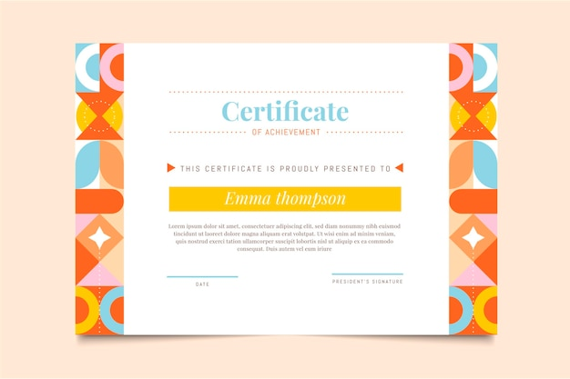 Certificaat van prestatie met plat mozaïek