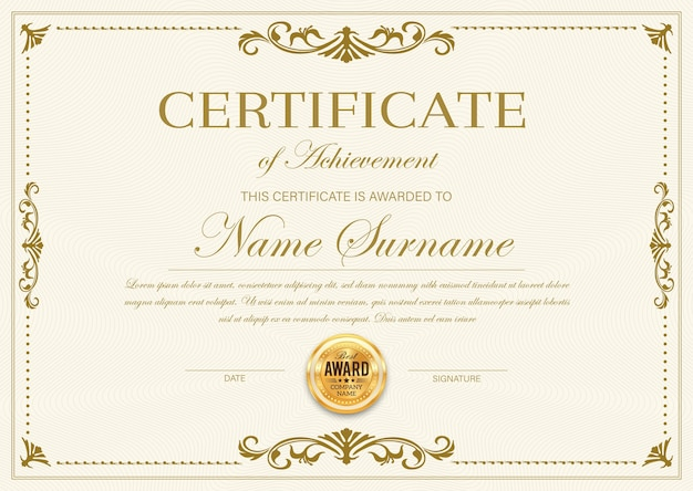Certificaat van prestatie sjabloon, diploma, officieel award frame, sierlijke rand