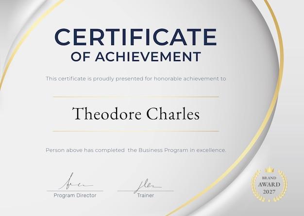 Certificaat van prestatie-sjabloon in luxe design