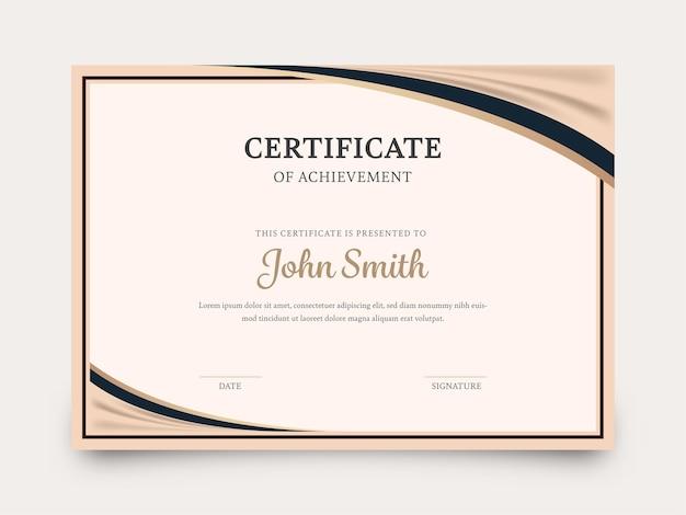 Certificaat van prestatie sjabloon lay-out in beige kleur.