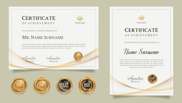 Certificaat van prestatie sjabloon met gouden lijntekeningen en badges Premium Vector