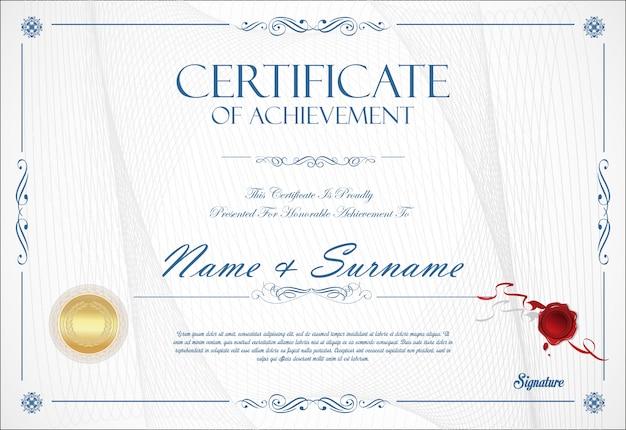 Certificaat van prestatie sjabloon retro ontwerp