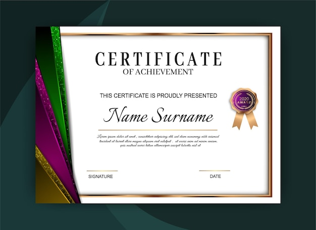 Certificaat van prestatie sjabloonontwerp