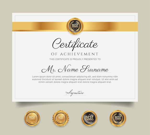 Certificaat van prijssjabloon goud en rood met badges