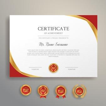 Certificaat van toekenningssjabloon, gouden en rode kleur met kentekens
