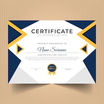 Certificaat van verdienste met abstracte vormen