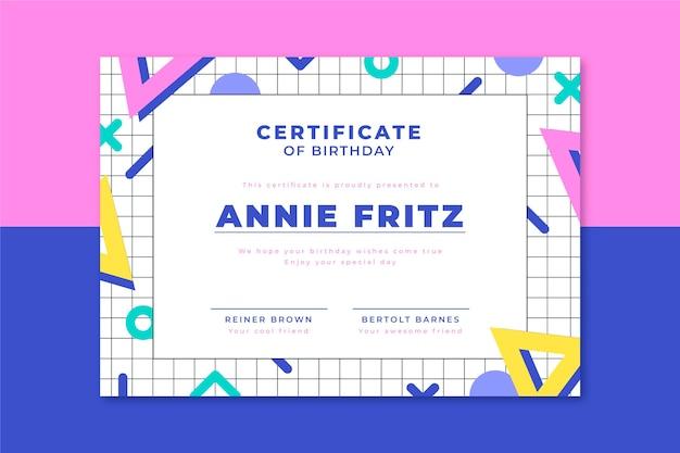 Certificaat van verjaardag geometrische vormen
