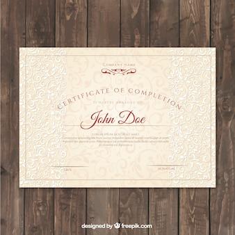 Certificaat van voltooiing met sierlijke ornamenten