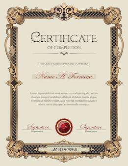Certificaat van voltooiing portret met antiek vintage ornament frame
