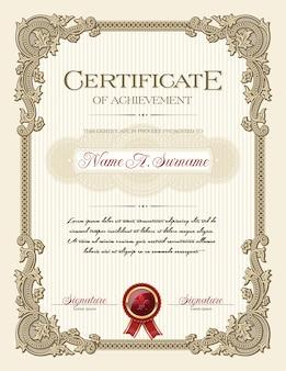 Certificaat van voltooiing portret met floral vintage frame