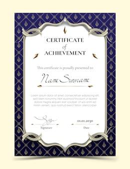 Certificaat van voltooiing sjabloon met traditionele blauwe thaise patroon grens