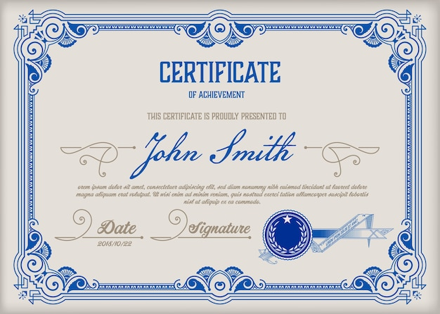 Certificaat van voltooiing vintage frame.