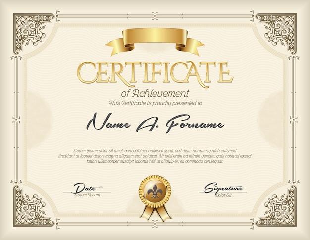 Certificaat van voltooiing vintage frame