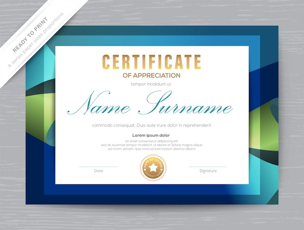 Certificaat van waardering award diploma sjabloon