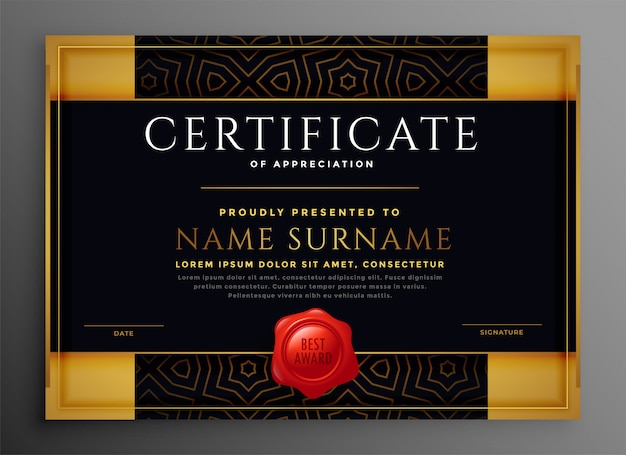 Certificaat van waardering gouden en zwarte premium sjabloon