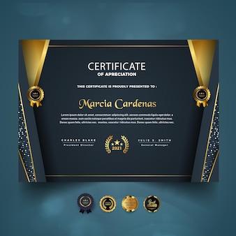 Certificaat van waardering luxe sjabloonontwerp