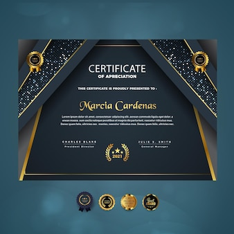 Certificaat van waardering modern luxe sjabloonontwerp
