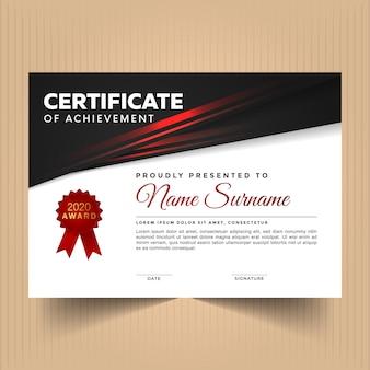 Certificaat van waardering ontwerpsjabloon met moderne rode lijnen