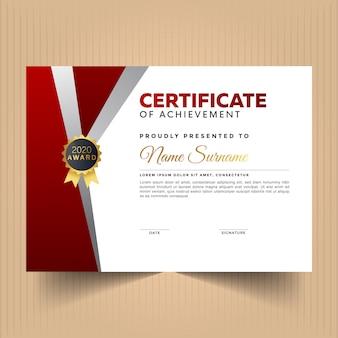 Certificaat van waardering ontwerpsjabloon met rode en witte kleuren