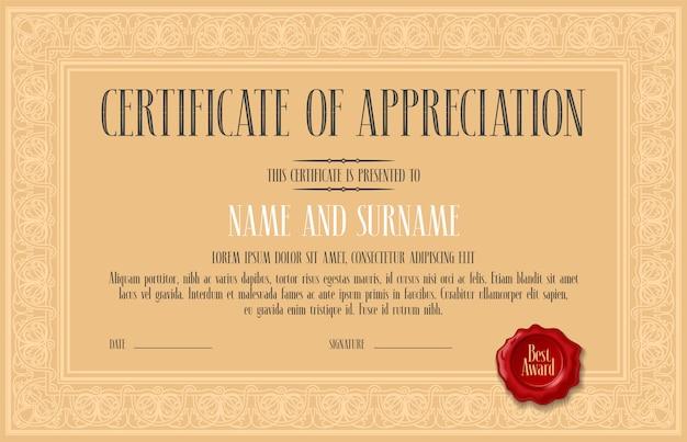 Certificaat van waardering, prestatie vectorillustratie