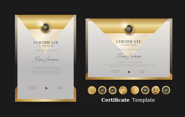 Certificaat van waardering sjabloon en vector luxe premium badges ontwerp