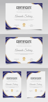 Certificaat van waardering sjabloon met blauwe en gouden elementen
