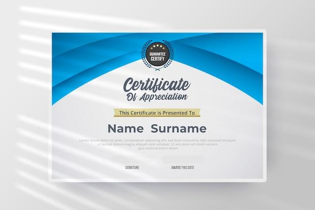 Certificaat van waardering sjabloon met blauwe en witte kleur.