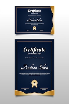 Certificaat van waardering sjabloon met elegant ontwerp