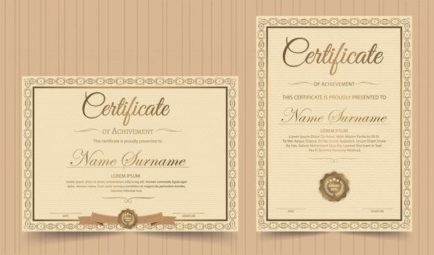 Certificaat van waardering sjabloon met vintage gouden rand - vector