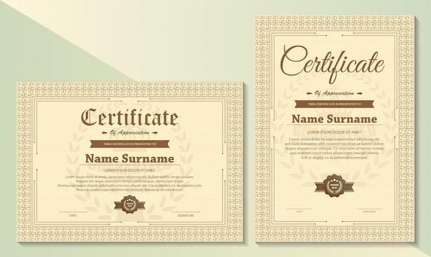 Certificaat van waardering sjabloon met vintage gouden rand