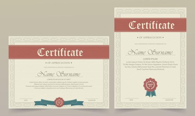 Certificaat van waardering sjabloon met vintage rand