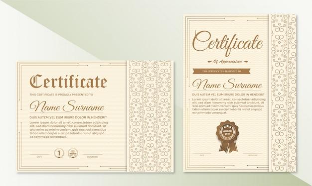 Certificaat van waardering sjabloon met vintage rand Premium Vector