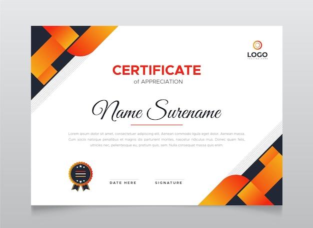 Certificaat van waardering sjabloon. moderne diploma certificaatsjabloon