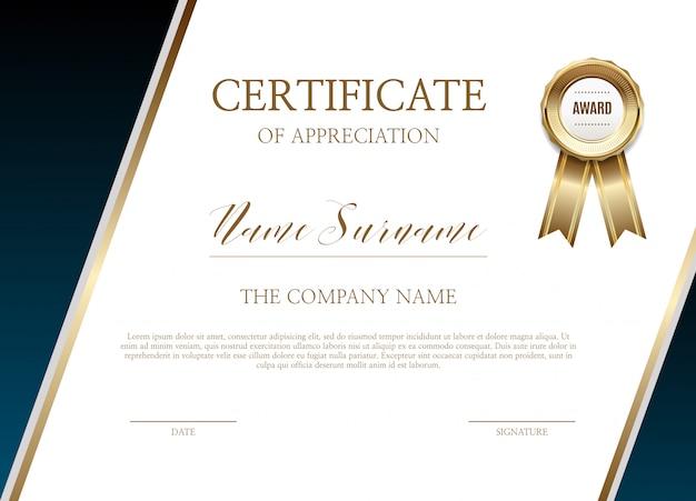 Certificaat van waardering sjabloon
