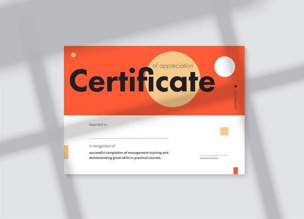 Certificaat van waardering sjabloonontwerp. elegante lay-out voor zakelijke diploma's voor het afstuderen of het voltooien van een cursus. vector achtergrond illustratie. Premium Vector