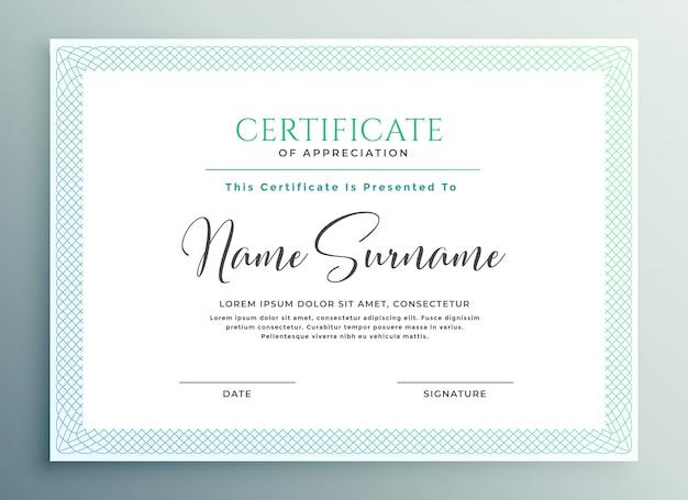 Certificaat van waardering sjabloonontwerp