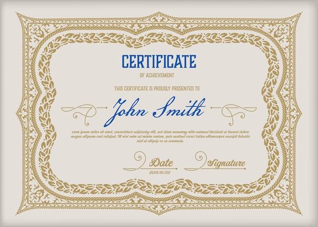 Certificaat vintage sjabloon diploma valuta grens