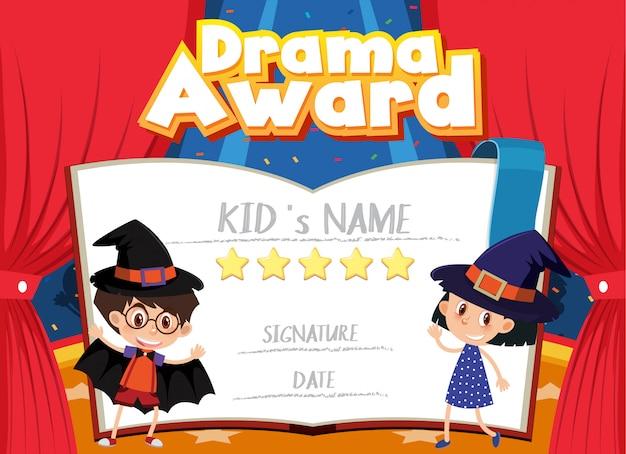 Certificaat voor drama award met kinderen op het podium