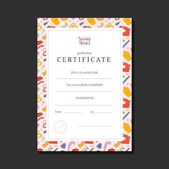 Certificaat voor het naaien van een bril