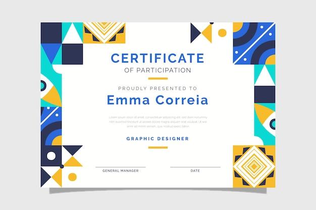 Certificaat voor plat abstract mozaïek