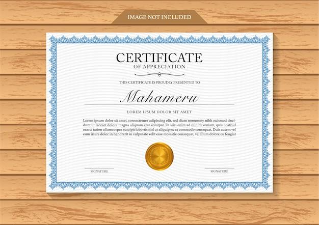 Certificaat waardering sjabloon grens en gouden medailles