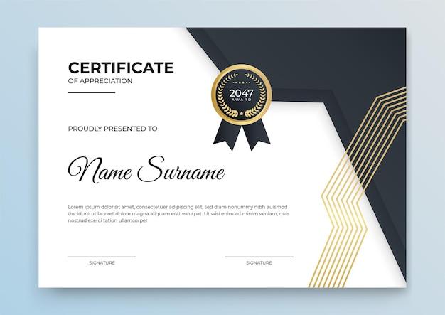 Certificaatsjabloon blauw en goud. moderne online cursus, diploma, certificaat voor bedrijfstrainingen