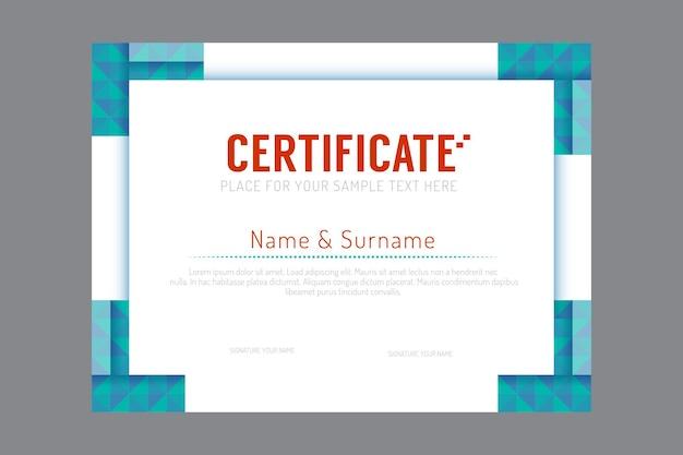 Certificaatsjabloon geometrische frame ontwerp vector.