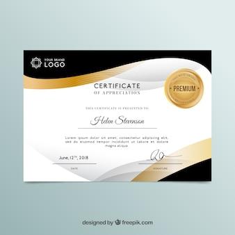 Certificaatsjabloon in gouden kleur