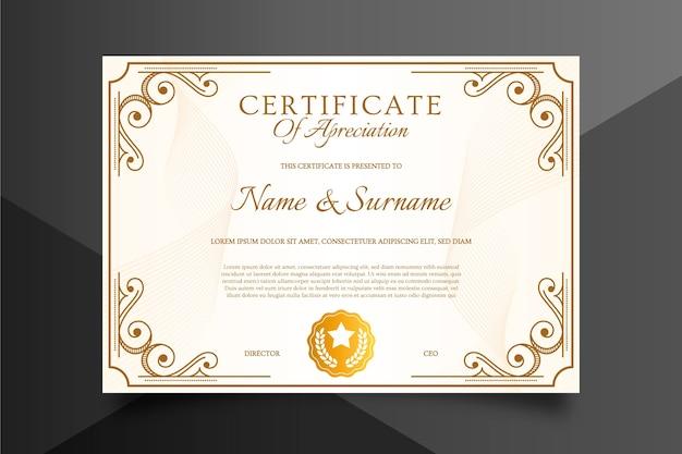 Certificaatsjabloon in verfijnde stijl