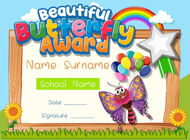 Certificaatsjabloon met beautiful butterfly award